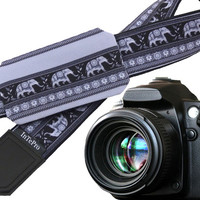 Elephant Camera Strap with lens pocket. Grey. Black. Christmas gift. Embroider your / friends initials! Have more personal camera accessory!