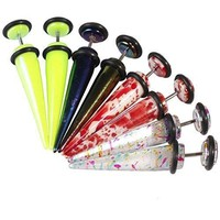 BodyJ4You Fake Tapers Kit Glossy Multi-Color 0G Gauges Look Gauges Piercing Jewelry Set 8 Pieces