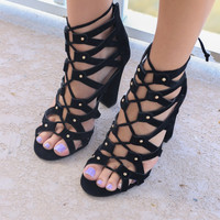 Fifth Avenue Strolls Black Studded Heels