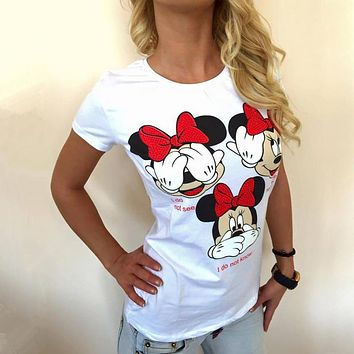 Novelty Woman T Shirt  Minnie Mouse