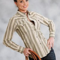 Baroque Overprint Stripe Roper Performance - Green Group Long Sleeve Urban Western Wear