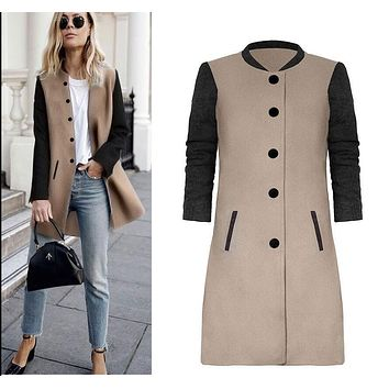 Gray Hit Color Stitching Woolen Long Coat