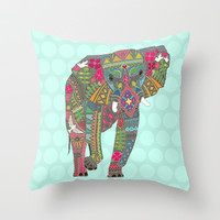 painted elephant aqua spot Throw Pillow by Sharon Turner