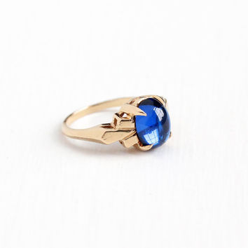Vintage 14k Rosy Yellow Gold Created Blue Spinel Cabochon Ring - Retro 1940s Size 6 1/2 Cobalt Synthetic Stone Fine Statement Jewelry