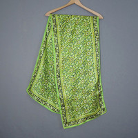 Vintage Long Green Floral Silk Scarf, 59 x 14 inches, Made in India, 1980s Neck or Head Scarf