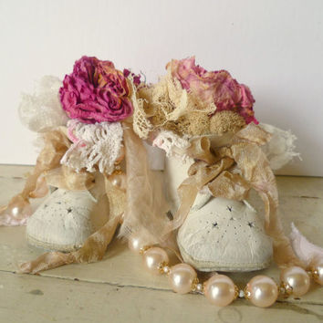 Altered Baby Shoe Nursery Display. Baby Bootie Bouquet. French Shabby Chic Nursery Decor. Refashioned Vintage Baby Shoes. Newborn Baby Gift