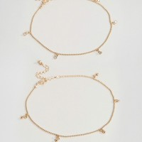 ASOS CURVE Exclusive Pack of 2 Ball and Crystal Drop Anklets at asos.com