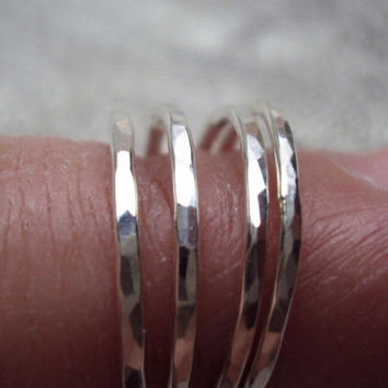 Stacking Ring Hammered 925 Sterling Silver