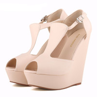 Women's Simple Platform Peep Toe High Heel Wedges