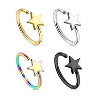 Hoop Nose Ring Star 4 Pack