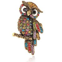 Rainbow Crystal Gold Tone Owl Perch Fashion Adjustable Ring