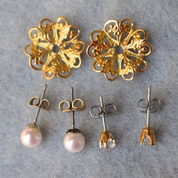 Four Way Convertible Filigree Flower Earrings Vintage