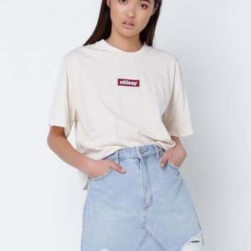 Stussy Block Italic Crop T-Shirt in Off White