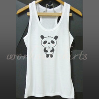 Cute Panda male racerback tank top white tee shirt size S M L XL printed t shirt sleeveless tank/ singlet/ unisex clothes