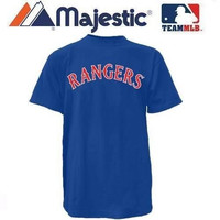 New YOUTH size Sm MLB Texas RANGERS Majestic T-Shirt Tee Jersey Crewneck Replica Major League Baseball Wood Mark
