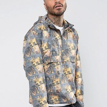 ASOS Overhead Windbreaker With All Over Retro Print at asos.com