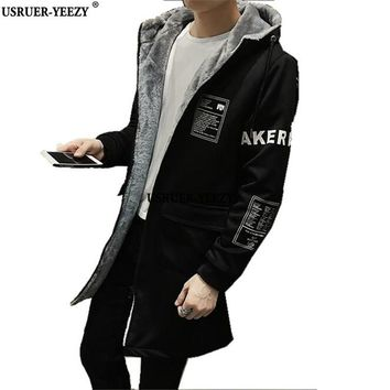 USRUER-YEEZY Promotion M-5XL Jackets Men's New 2017 Winter Thickening Fleece Long Trench Coat Men Print Overcoat Hooded Clothing