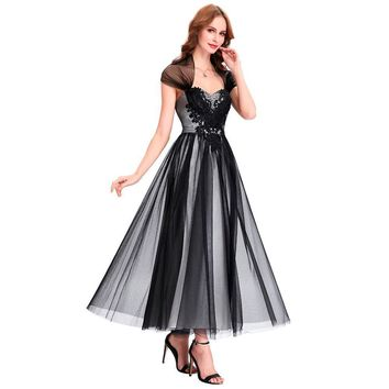 Ankle Length Black Evening Dresses with Cape Long Tulle Mother of the Bride Dresses lace Gown Evening Formal Dress