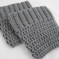 Grey Boot Cuffs Womens Crochet Boot Socks Knit Boot Toppers Fall and Winter Leg Warmers