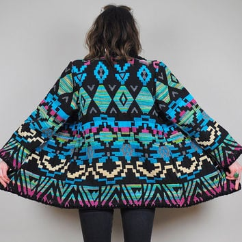 vtg Neon WOVEN Southwestern NAVAJO 80's Indian Blanket jacket native Geometric Aztec carpet coat