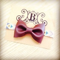 Faux leather walnut brown handmade fabric bow aztec headband from Bowlicious Divas Bowtique