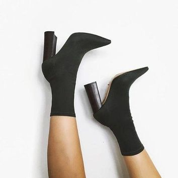Pure Color Pointed Toe High Chunky Heels Half Boots