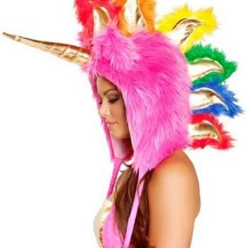 Hot Pink Unicorn Fur Hood