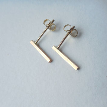 Simple Bar Stud Earrings - 14k Yellow Gold Fill Post Earrings - Mix & Match With Ear Jackets