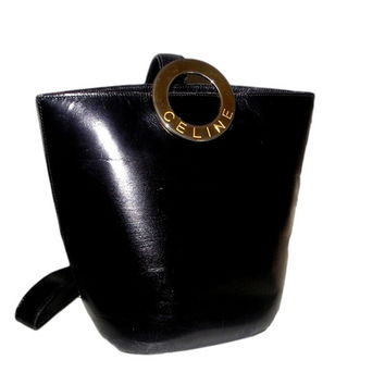 Vintage CELINE Paris Black Leather Bucket Bag Purse with Sling Strap
