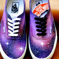 Custom Painted Galaxy Shoes Pink and Purple