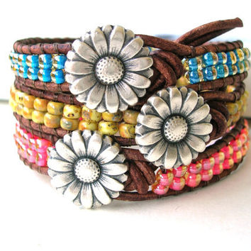Summer wrap bracelets - Sunny Daze -  beachy jewelry friendship bracelets, spring, YOUR CHOICE  Bohemian jewelry, flower