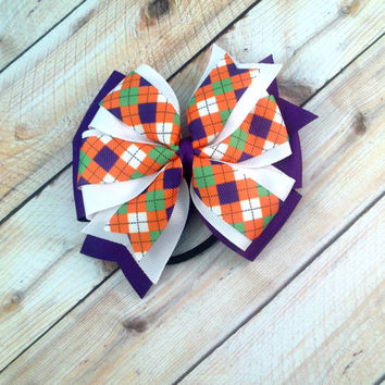 Dog Collar Bow // Orange Argyle // Plaid Bow // Halloween Bow // Dog Collar Bow // Pet Bow // Argyle Bow // Hair Accessory // Dog Bow
