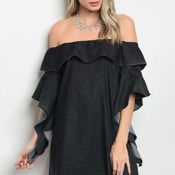 Black Demin Ruffle Dress
