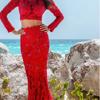 Jovani 26730 In Stock Red Size 8 Long Sleeve Lace Two Piece Pageant Prom Dress