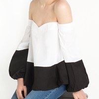 Dual Color Off The Shoulder Top By New Revival