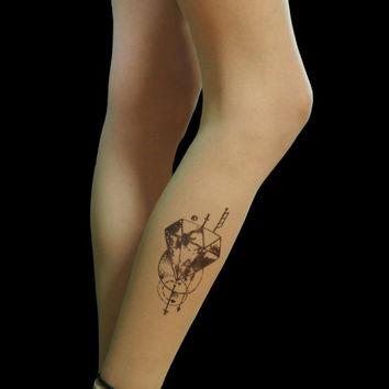 Occult nu goth tights, diamond tattoo tights