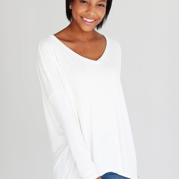Ivory PIKO V-Neck Long Sleeve Top