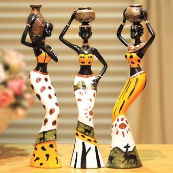 3pcs/set African Water Women Decorative Figurines