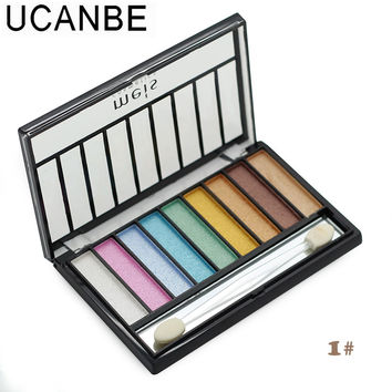 Brand cosmetics eye shadow with brush 9 both warm and cool colors naked makeup glitter eyeshadow palette