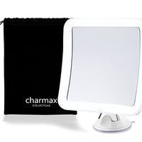 Charmax 7x Magnifying Lighted Makeup Mirror With Bag, Natural LED Lights Bathroom Vanity Mirror, Battery Operated Travel Mirror, Square