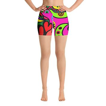 Womens Psychedelic Yoga Shorts