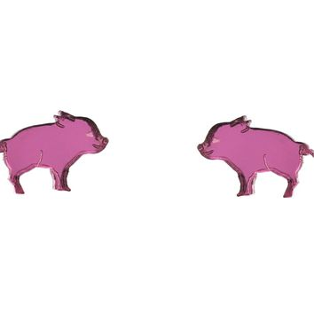 Piglet Earrings in Mirror Pink