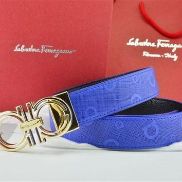 DCCKON Gold Buckle Blue Leather Ferragamo Belt