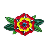 HOME :: Pins & Patches :: Lapel Pins :: Traditional tattoo geometric flower enamel pin