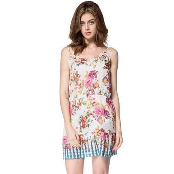 Bohemian Spaghetti Strap Sleeveless Floral Print Women's Dress