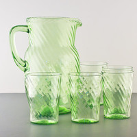 Anchor Hocking Spiral Pitcher and 9oz Tumblers Set in Green, 7pc Set, Flat Tumblers, Straight Side Pitcher
