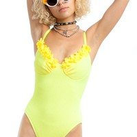 Vintage 90's Deadstock Lemon Meringue Swimsuit - One Size Fits Many