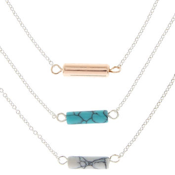 3 Pack Marble Stone Pendant Necklaces