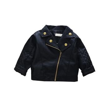 Fashion Baby Leather Jackets Kids Cool Autumn Outwear Toddler Boys Coat Clothing Girls Slim Black Coats Princess Dress