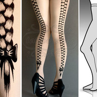 L/XL sexy Rapunzel tattoo tights / stockings / by tattoosocks